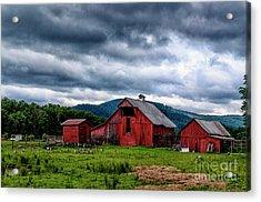 Threatening Sky And Barn Acrylic Print