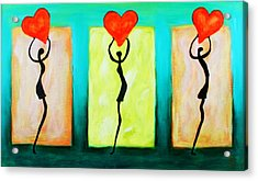 Three Abstract Figures With Hearts Acrylic Print