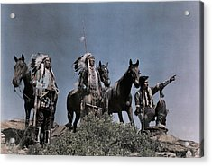Three American Indians On The Crow Acrylic Print by Edwin L. Wisherd