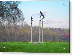 Acrylic Print featuring the photograph Three Angels In Spring - Kelly Drive Philadelphia by Bill Cannon