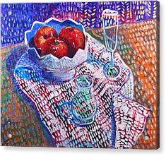 Three Apples Acrylic Print by Rollin Kocsis