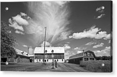 Three Barns With Clouds On Clark Lakes Road Acrylic Print by Stephen Mack