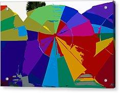 Three Beach Umbrellas Acrylic Print by David Lee Thompson