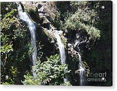Acrylic Print featuring the photograph Upper Waikani Falls by Wilko Van de Kamp