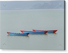 Three Blue Boats On Phewa Lake In Pokhara Acrylic Print