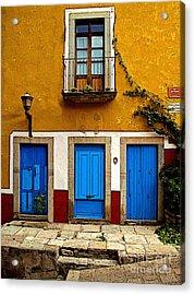 Three Blue Doors 2 Acrylic Print by Mexicolors Art Photography