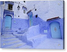 Three Blue Doors In Chefchaouen  Acrylic Print by Liz Pinchen