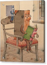 Three Books Acrylic Print by Kestutis Kasparavicius
