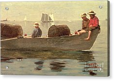 Three Boys In A Dory Acrylic Print by Winslow Homer