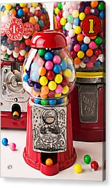 Three Bubble Gum Machines Acrylic Print by Garry Gay
