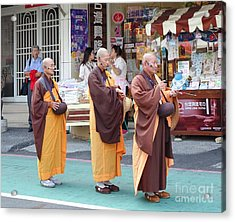 Acrylic Print featuring the photograph Three Buddhist Monks Chant Scriptures by Yali Shi