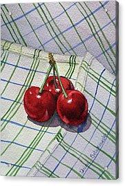 Three Sweet Cherries By Irina Sztukowski Acrylic Print