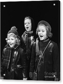 Three Children Caroling, C.1940s Acrylic Print by H. Armstrong Roberts/ClassicStock