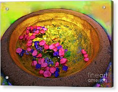 Three Coins In The Fountain With Gold Fish Acrylic Print by Madeline Ellis