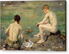 Three Companions Acrylic Print by Henry Scott Tuke