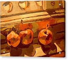 Acrylic Print featuring the painting Three Crabapples On A Window Sill by Tim  Heimdal