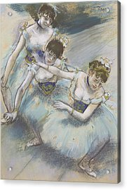 Three Dancers In A Diagonal Line On The Stage Acrylic Print by Edgar Degas