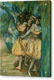 Three Dancers With A Backdrop Of Trees And Rocks Acrylic Print by Edgar Degas