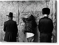 Three Different Selichot Prayers At The Kotel Acrylic Print by Yoel Koskas