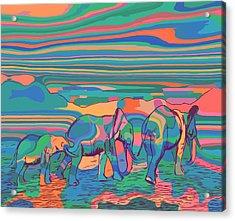 Three Elephants Walking  Acrylic Print