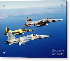 Three F-5e Tiger II Fighter Aircraft Acrylic Print by Dave Baranek