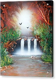Acrylic Print featuring the painting Three Falls by Greg Moores