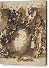 Three Figures Around A Globe Acrylic Print