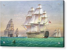 Three First Rate Ships Of The Line Entering Portsmouth Harbor Acrylic Print by William and John Joy