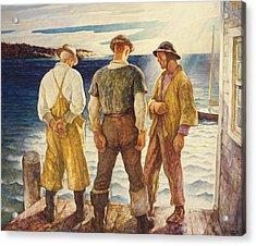 Three Fishermen Acrylic Print by Newell Convers Wyeth