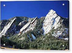 Three Flatirons Acrylic Print by Marilyn Hunt