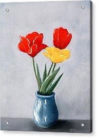 Three Flowers In A Vase Acrylic Print by Anastasiya Malakhova