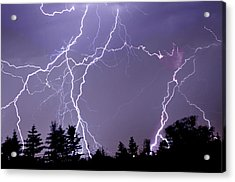 Three Frames Of Lightning Hitting Cedar Hills Area Acrylic Print by Utah-based Photographer Ryan Houston
