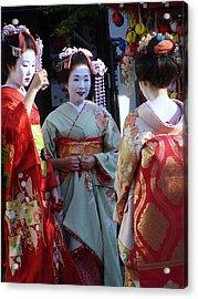 Three Geisha Acrylic Print by Emma Manners
