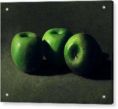 Three Green Apples Acrylic Print by Frank Wilson