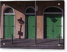 Three Green Doors Acrylic Print by Garry Gay