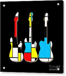 Three Guitars Modern Tee Acrylic Print by Edward Fielding