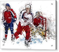 Three Hockey Players At The Goal Acrylic Print by Elaine Plesser