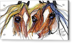 Three Horses Talking Acrylic Print