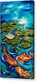 Three Koi Acrylic Print by Linda Olsen