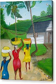 Three Ladies Going To The Marketplace Acrylic Print