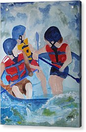 Acrylic Print featuring the painting Three Men In A Tube by Sandy McIntire
