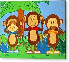 Three Monkeys No Evil Acrylic Print