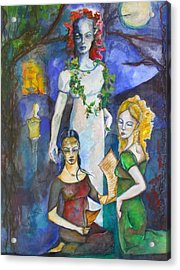 Three Of Cups Acrylic Print by Erika Brown