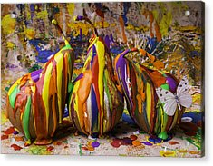 Three Painted Pears And Butterfly Acrylic Print