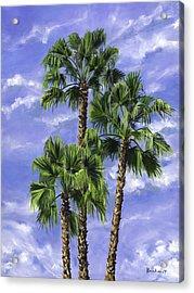 Three Palms Acrylic Print by Lisa Reinhardt