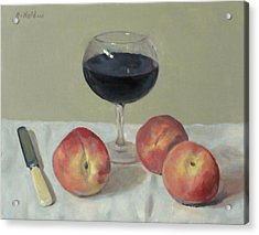 Three Peaches, Wine And Knife Acrylic Print