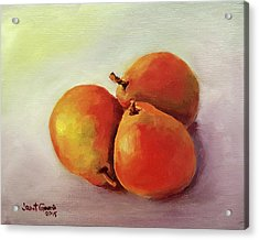 Three Pears Acrylic Print by Janet Garcia