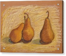 Three Pears Acrylic Print by Phyllis Tarlow