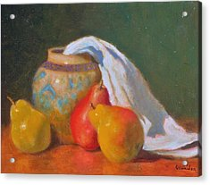 Three Pears With Persian Vase Acrylic Print by David Olander