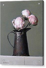 Three Peony Buds In Old Tin Can Acrylic Print